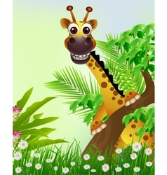 Cute giraffe cartoon smiling with tropical forest vector