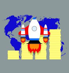 Global financial success of launch start up vector