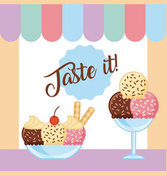 Taste it ice cream cartoon vector