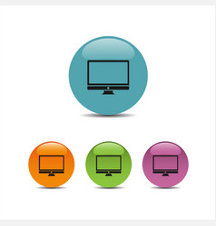 Computer icon on colored buttons vector