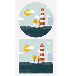 hipster lighthouse flat style vector image