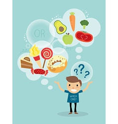 A man choosing between healthy food and fast food vector