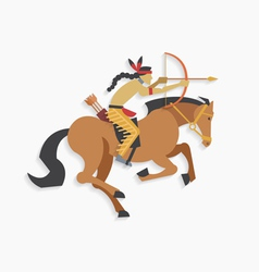 Indian warrior with bow and arrow riding horse vector