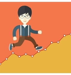 Businessman runs up the hill vector