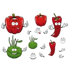 Cartoon kohlrabi chili and red pepper vegetables vector