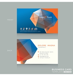 Abstract low poly business card design template vector
