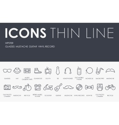 Hipster thin line icons vector