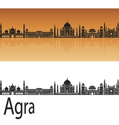 Agra skyline in orange vector
