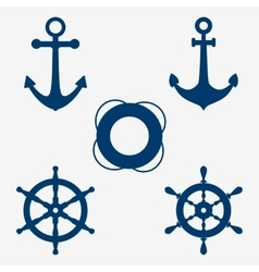 Anchors and steering wheel vector image