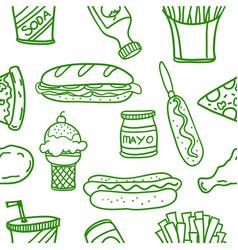Art of fast food doodles vector