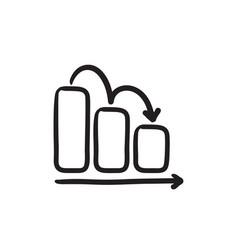 Bar chart down sketch icon vector