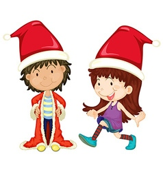 Boy and girl wearing santa outfit vector