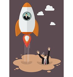Businessman on a rocket get away from puddle of vector