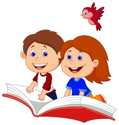 Cartoon Boy and girl flying on a book vector image vector image