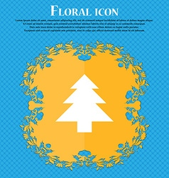 Christmas tree floral flat design on a blue vector