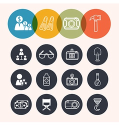 collection Circle Series icons BusinessTourismcame vector image vector image