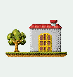 Color pixelated house in meadow with tree vector