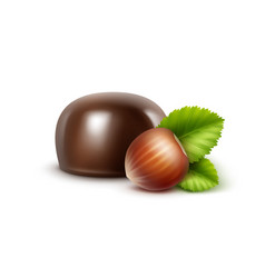Dark black bitter chocolate candy with hazelnuts vector