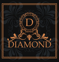 diamond d typographic decorative vintage vector image