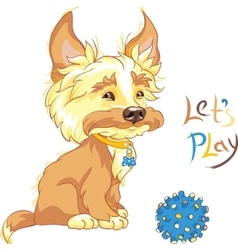 Funny shaggy puppy wants to play vector