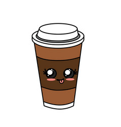 Kawaii cute delicious coffee beverage vector