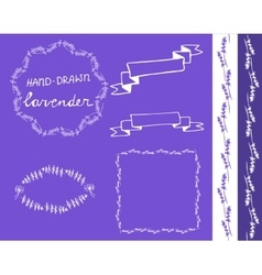 lavander frame hand drawn set vector image