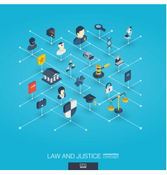 Law and justice integrated 3d web icons digital vector