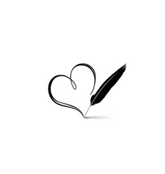 love heart calligraphic hand drawn sign written vector image vector image