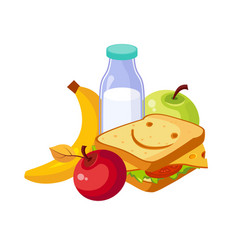 Lunch food sandwich milk and fruits set of vector