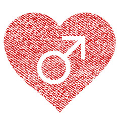 Male love heart fabric textured icon vector