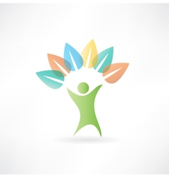 Man holding leaves icon vector