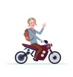 Man in helmet riding motorcycle or motorbike vector