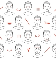 Seamless pattern of face plastic surgery with line vector image vector image