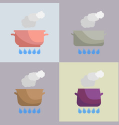set of boiling pot on the gas vector image vector image