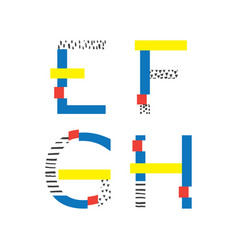 set with geometric style letters sequence e vector image