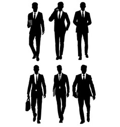 six businessmen silhouettes vector image vector image