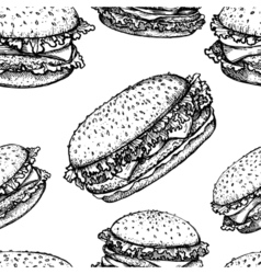 Sketch hamburger or burger seamless pattern fast vector image