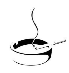 smoke cigarette and ashtray vector image