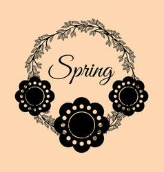 Spring flowers crown vintage vector