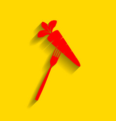 Vegetarian food sign red vector