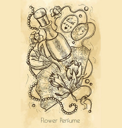 Vintage still life with flower perfume concept vector