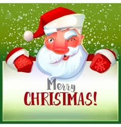 Santa winks and holding typography card vector image