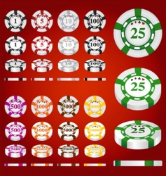 Gambling chips set vector