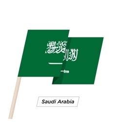 Saudi arabia ribbon waving flag isolated on white vector