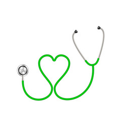 Stethoscope in shape of heart in green design vector