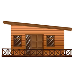 Wooden hut with terrace vector
