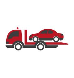 Car transportation logistics truck or evacuation vector
