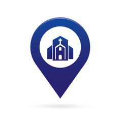 Church map pointer icon marker gps location flag vector