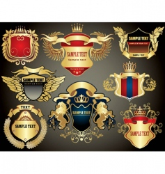 Gold heraldry elements vector