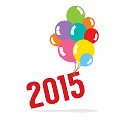 2015 with balloon bunch celebrate concept vector